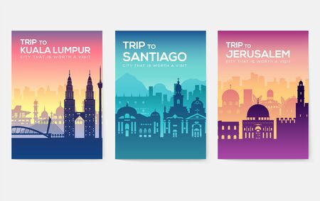 Travel information cards. Landscape template of flyer, magazines, posters, book cover, banners. Country of Chile, Canada, Thailand, Spain, Malaysia, Africa, Asia, Poland, UAE and Jerusalem set Çizim