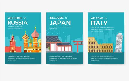 Country of Egypt, Austria, Germany, India, Russia, Thailand, Japan, Italy card set. Travel of the world of flyer, magazines, poster, book cover, banner. Layout infographic template illustration page 일러스트