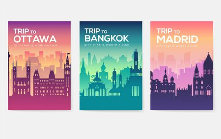 Schede informative di viaggio. Modello orizzontale di flyear, riviste, poster, copertina del libro, banner. Paese del Cile, Canada, Thailandia, Spagna, Malesia, Africa, Asia, Polonia, Emirati Arabi Uniti e Gerusalemme Vettoriali