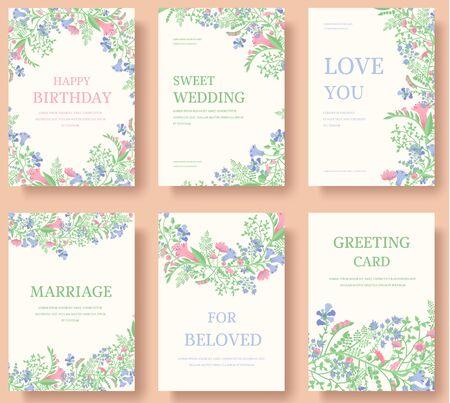 Conjunto de concepto de ornamento de boda de flores. Arte tradicional, revista, libro, cartel, abstracto, elemento. Diseño de vectores tarjeta de felicitación étnica decorativa o fondo de diseño de invitación