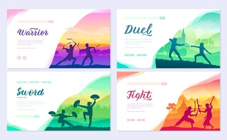 Martial arts of different Nations of the world. Traditional fights with weapon brochure card set. Fighting style battle template of flyer, web banner, ui header, enter site. Layout modern slider page
