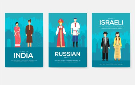 Set of People Friendship concept. International Day of the World Indigenous, magazine, book, poster, abstract, banners, element. Vector ethnic greeting card or invitation design background
