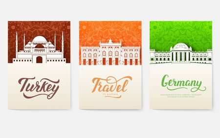 set of art ornamental travel and architecture on ethnic floral flyers. Vector decorative banner of card or invitation design.