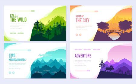 Nature vector brochure cards set. Ecology template of flyer, web banner, ui header, enter site. Outdoor invitation concept background. Layout illustration modern slider page background.