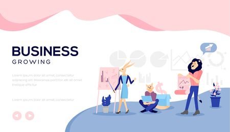 the growth of business is due to the team work aimed at one goal. Graphics, analysis, well-coordinated team. The key to growth. concept vector illustration
