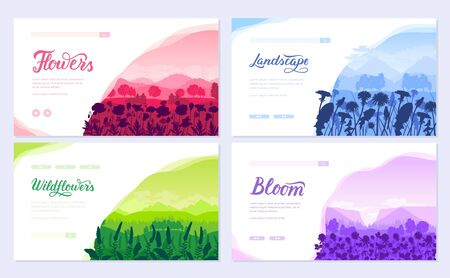 Beautiful flowers on the mountainside vector brochure cards set. Summer nature template of flyer, magazines, poster, books, banners. Flora on hill invitation concept. Layout modern Illusztráció