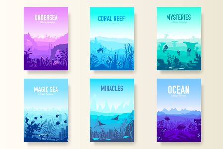 dedicated to undersea vector brochure cards set. Coral reef in the ocean template of flyear, magazines, poster, book cover, banners. invitation concept background. Layout illustration modern page Ilustração