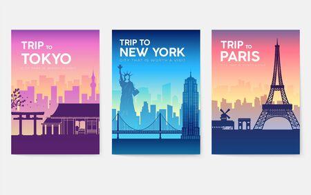 Travel information cards. Landscape template