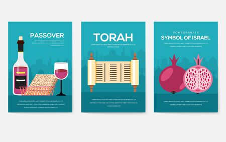 Set of Israel country ornament travel trip concept. Art traditional, magazine, book, poster, abstract, banners, element. Vector decorative ethnic greeting card or invitation design