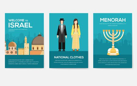 Set of Israel country ornament travel trip concept. Art traditional, magazine, book, poster, abstract, banners, element. Vector decorative ethnic greeting card or invitation design Stok Fotoğraf - 130570168