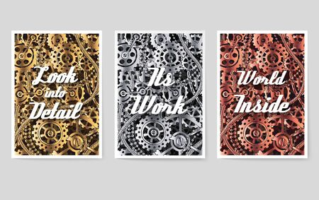 Set of mechanical vector posters for you design with typographic motivation slogan text. Tamplate for print, mobile, wallpaper or web