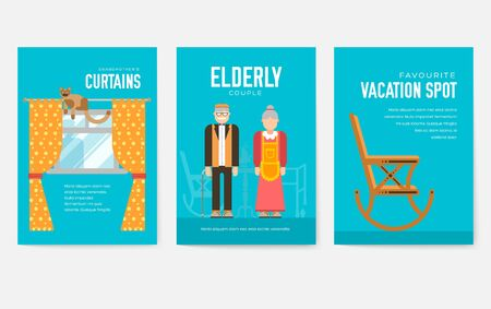 Grannys day brochure cards set. old character people template of flyer, magazine, poster, book cover, banners. grandmother and grandfather house invitation concept background. Layout modern page