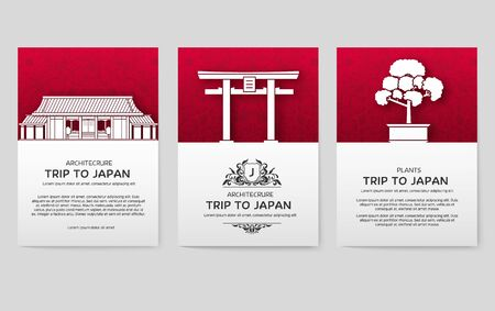 Set of Japan country ornament illustration concept. Art traditional, book, poster, abstract, ottoman motifs, element. Vector decorative ethnic greeting card or invitation design background.