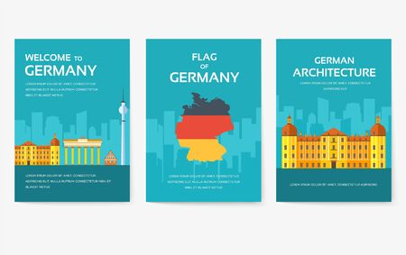 Set of Germany country ornament travel tour concept. Monument traditional, magazine, book, poster, abstract, element. Vector decorative ethnic greeting card or invitation design background