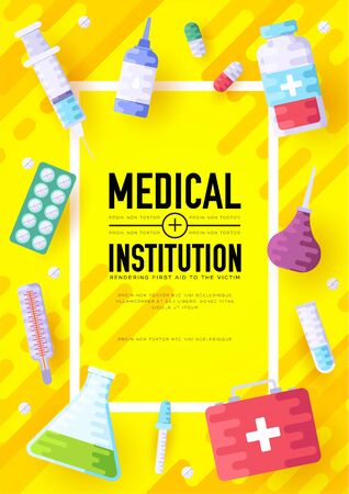 Medicine information cards set. Medical template of flyer, magazines, posters, book cover, banners. Clinical infographic concept background. Layout illustrations modern pages