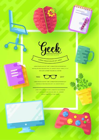 it geeks vector brochure cards set. office professional developer template of flyear, magazines, posters, book cover, banners. Layout workplace technology flat illustrations modern pages Illustration
