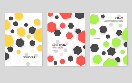 Abstract geometric pattern cards set. Shape colors template of flyear, magazines, posters, book cover, banners. Graphic invitation concept background. Layout quality modern pages Ilustrace