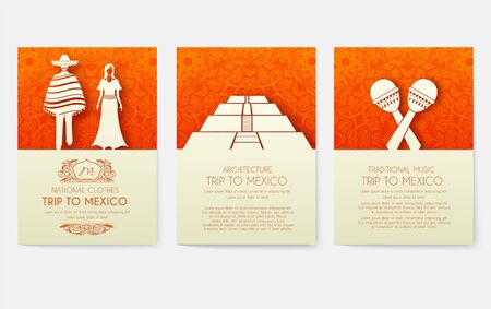 Set of Mexico country ornament illustration concept. Art traditional, poster, book, poster, abstract, ottoman motifs, element. Vector decorative ethnic greeting card or invitation design background.