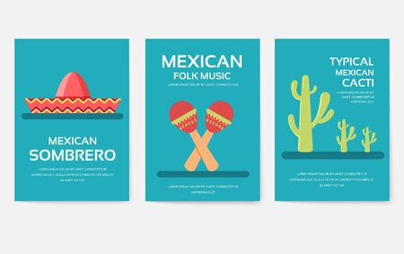 Set of Mexico country ornament travel tour concept. Asian traditional, magazine, book, poster, abstract, element. Vector decorative ethnic greeting card or invitation design background Иллюстрация
