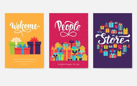Gift information cards set. Surprise template of flyer, magazines, posters, book cover, banners. Box infographic concept background. Layout illustrations modern pages with typography text