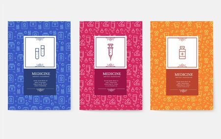 Set of thin line medical vacation pattern concept. Art traditional, magazine, book, poster, abstract, banners, element. Vector outline package greeting card or invitation design background
