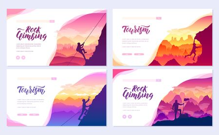 climber climbs the mountain brochure cards set. Extreme lifestyle of rock climbers template of flyer, web banner, ui header, enter site. Tourist hiking layout modern slider page Иллюстрация