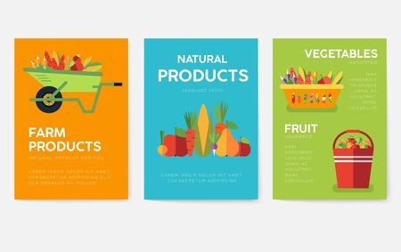 Farm information cards set. Nature template of flyer, magazines, posters, book cover, banners. Eco infographic concept background. Layout illustrations modern pages with typography text Illustration