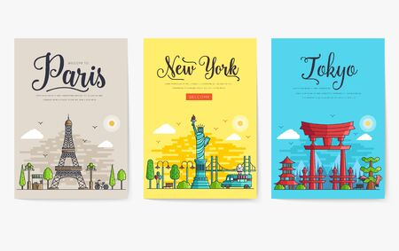 Set of different cities for travel destinations. landmarks banner template of flyer, magazines, posters, book cover, banners. Layout workplace technology flat illustrations modern pages