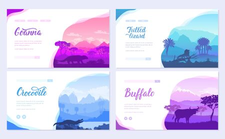 Australian animals in the natural habitat on brochure. Colorful flyers with Wildlife in nature. Template of flyer, web banner, ui header, enter site invitation concept. Layout modern slider page