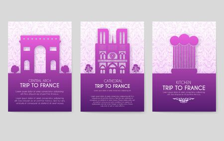 Set of France country ornament illustration concept. Art traditional, poster, book, abstract, ottoman motifs, element. Vector decorative ethnic greeting card or invitation design Иллюстрация