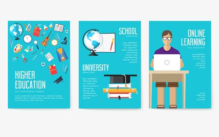 Back to school information cards set. Student template of flyer, magazines, posters, book cover, banners. College education infographic concept background. Layout illustrations modern pages