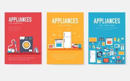Home appliances cards set. Electronics template of flyer, magazines, posters, book cover, banners. Devices infographic concept background. Layout illustrations template pages with typography text