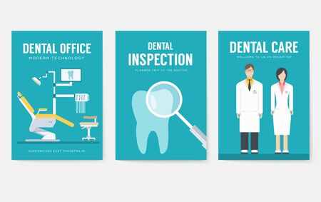 Dental office interior information cards set. Hygiene template of flyer, magazines, posters, book cover, banners. Clinic infographic concept background. Layout dentistry illustrations modern pages