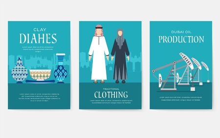 Dubai vector brochure cards set. Country template of flyer, magazines, posters, book cover, banners. Travel invitation concept background. Layout architecture illustrations modern page