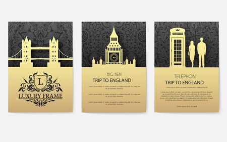 Set of England country ornament illustration concept. Art traditional, layout book, poster, abstract, ottoman motifs, element. Vector decorative ethnic greeting card or invitation design background