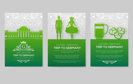 Set of Germany country ornament illustration concept. Art traditional, poster, book, poster, abstract, ottoman motifs, element. Vector decorative ethnic greeting card or invitation design background.