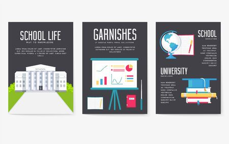 Back to school information cards set. Student template of flyear, magazines, posters, book cover, banners. College education infographic concept background. Layout illustrations modern pages Illusztráció
