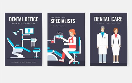 Dental office interior information cards set. Hygiene template of flyear, magazines, posters, book cover, banners. Clinic infographic concept background. Layout dentistry illustrations modern pages Imagens - 132108673
