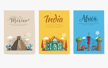 Set of different cities for travel destinations. Landmarks banner template of flyer, magazines, posters, book cover, banners. Layout architectural flat illustrations modern pages Illusztráció