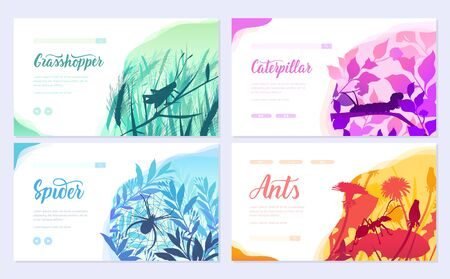 Brochures with insects in the microcosm. set of flyers with beetles in the environment. Template of flyer, web banner, ui header, enter site. Invitation concept background. Layout modern slider page Stock Illustratie