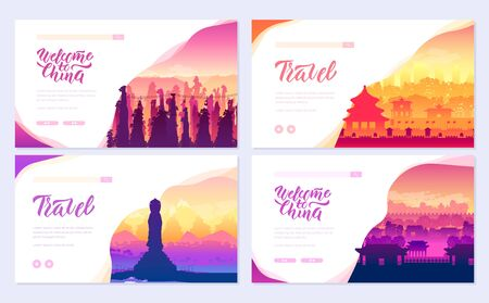 Top rated tourist attractions in china brochure cards set. Best Tourist Attractions in China template of flyer, web banner, ui header, enter site concept background. Layout modern slider page