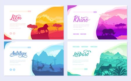 Brochures with African animals in natural habitat. Set of flyers with wildlife in the sunset of the day. Template of flyer, web banner, ui header, enter site. Layout illustration modern slider page
