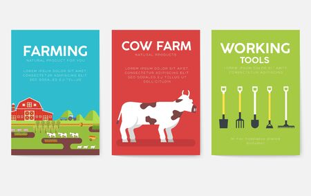 Farm information cards set. Nature template of flyer, magazines, posters, book cover, banners. Eco infographic concept background. Layout illustrations modern pages with typography text Çizim