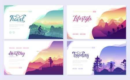 Rest and vacation, hike and travel, walk on the slopes of the mountains Vector Illustration