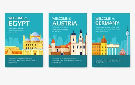 Pays d'Égypte, d'Autriche, d'Allemagne, d'Inde, de Russie, de Thaïlande, du Japon et d'Italie. Voyage du monde du flyer, des magazines, de l'affiche, de la couverture du livre, de la bannière. Page d'illustration du modèle d'infographie de mise en page