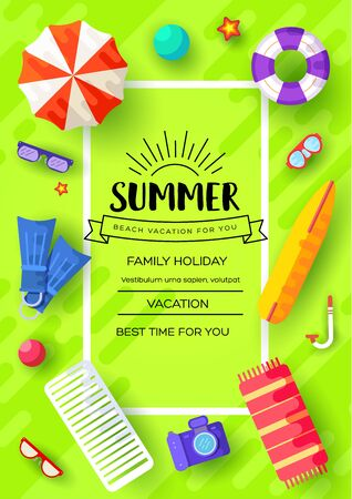 summer vecetion time vector brochure cards set. Ecology template of flyear, magazines, poster, book cover, banners. Outdoor invitation concept background. Layout illustration modern page background