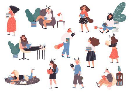 Set of readers, book lovers 向量圖像