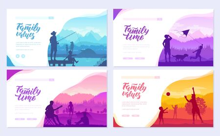 family vacation with children in nature brochure cards set. Friendly resorts template of flyer, web banner, ui header, enter site. Invitation concept background. Layout modern slider page