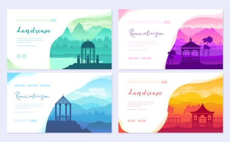 pavilions of the Nations of the world, 4 continents vector illustration
