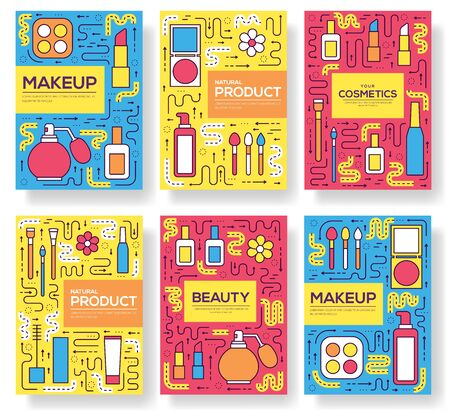 Thin line makeup tools modern illustration